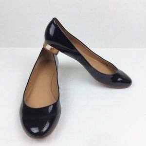 J Crew Janey Flats | Black Patent w/Gold Heel